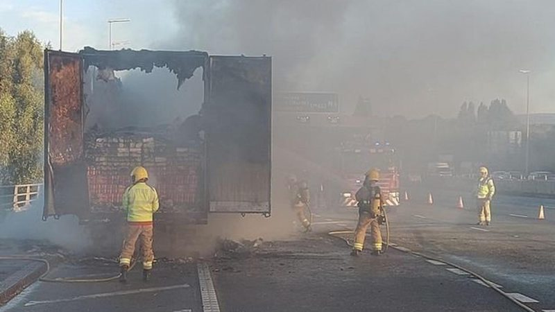 Lorry filled with Birds Eye potato waffles catches fire on M6, The Manc