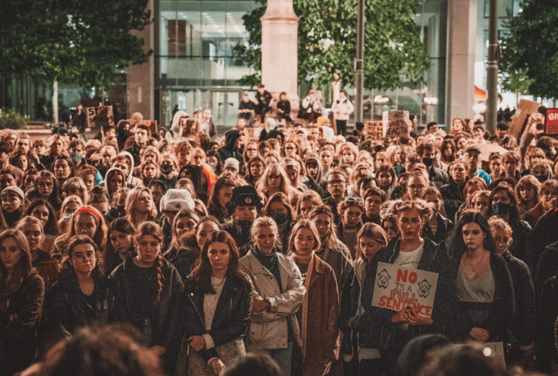 Hundreds took to St Peter's Square for 'End Spiking Now' protests in Manchester last night, The Manc