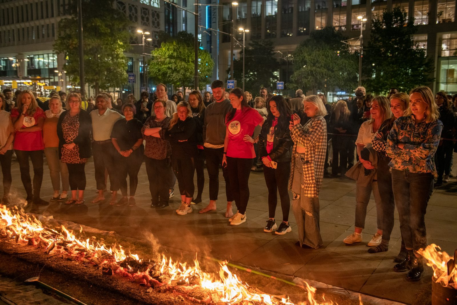 Here's what happened when 50 fundraisers walked on fire in St Peter's Square last night, The Manc