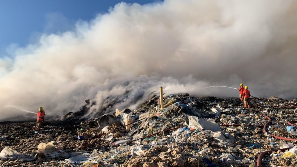 Fire crews currently battling huge blaze at Bury landfill site for second time this year, The Manc