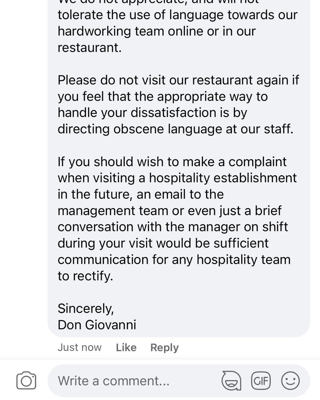 Don Giovanni calls for kindness after customer leaves 'vulgar' Facebook review, The Manc